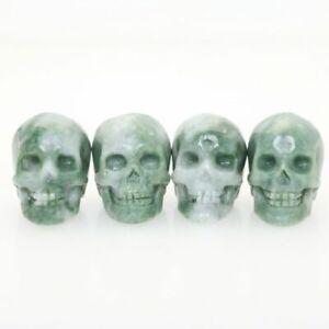 "Random 1pc 1.5"" GREEN STONE Hand Carved Crystal Skull Crystal Healing Realistic"
