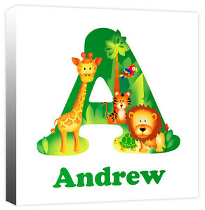 Personalised Jungle Animal Name - ABC Alphabet Childrens Canvas Print Picture