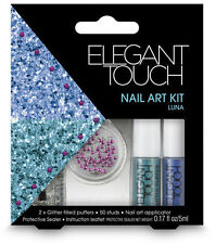 ELEGANT TOUCH nail art kit in Luna 50 studs 2x glitter puffers protective sealer