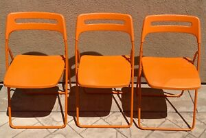 Vintage Ikea Folding Chairs - MCM Inspired Orange Color!!  Lot of 3