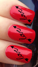 NAIL ART #307 x24 LOVE ARROW HEART VALENTINES DAY WATER TRANSFER DECALS STICKERS