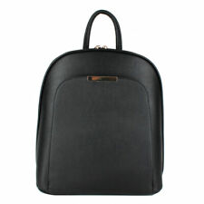 MODERNISTIC BLACK DOUBLE ZIPPER STRAP VEGAN BACKPACK BAG