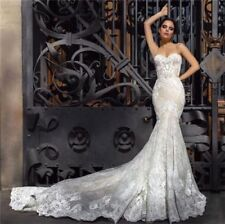 Spaghetti Strap Lace Backless Mermaid Wedding Dress chapel Train Bridal Gown New