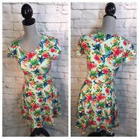NWT Forever 21 Dress Sz S Floral Bodycon Stretch Mini Hawaiian Small NEW $34 y