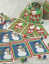 Crochet Pattern ~ SANTAS & SNOWMEN AFGHAN Christmas Santa,Snowman ~ Instructions