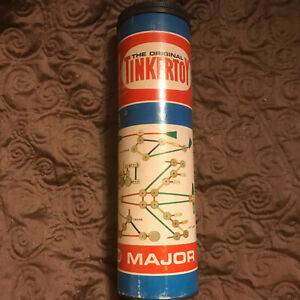 TINKER TOYS Set No. 136 97 pcs in Original Canister - Vintage circa 1960