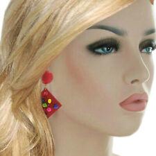 "Large Red Multicolor Wood Beaded Diamond Shape Clip On Dangle Earrings 3"""