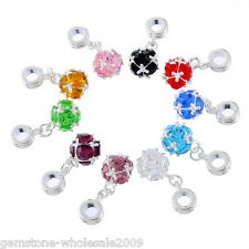 12PC Wholesale Lots Mixed Birthstone Dangle Beads Fit Charm Bracelet 26mmx10mm