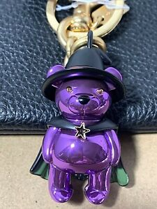 Coach Witch Teddy Bear Key Chain Ring Bag Charm Halloween Collection 6074 New