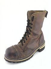 GETTA GRIP Boots Martens Combat Steel Toe Brown Vintage England Made US 8 EU 41