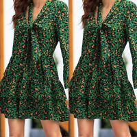 Womens Long Sleeve Floral Flare V Neck Mini Dress Summer Evening  A-line Dresses
