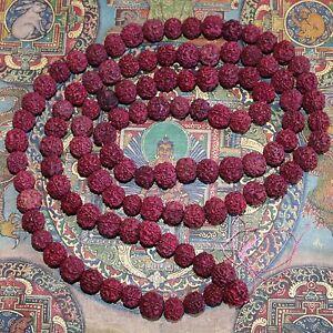Mala Rudraksha Shiva Gebetskette OM Kette Perlen 180 cm 14 mm Indien Goa Hippie