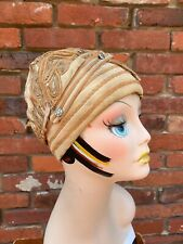 Antique Vintage 1920s Beige Cloche Hat With Gold and Tan Soutache AS IS