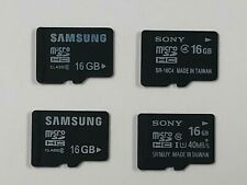 Lot of 4 Used 16GB Micro SDHC Memory Cards (2 x Samsung & 2 x Sony Class 4/10)