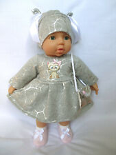 4 tlg Set Kleid Mütze Schuhe Tasche Puppenkleidung Re born Baby 43-47 (22a)