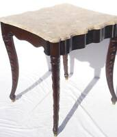 Neoclassical Italian Marble Top Mahogany End Side Table, Circa 1920's