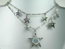 PILGRIM Multi Strand Necklace STAR Charm Silver Blue Enamel Swarovski BNWT