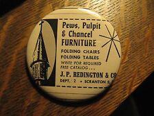 J.P. Redington & Co. Scranton PA Church Pulpit Pews Advertisement Pocket Mirror