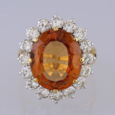18ct Yellow Gold Golden Topaz and Diamond Cluster Ring