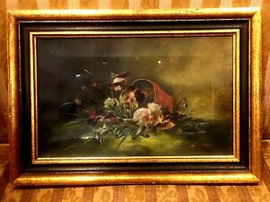 ANTIQUE 19th C OIL ON CANVAS PAINTING STILL LIFE FLOWERS FRAMED