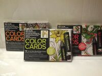 Lot Of 3 CHAMELEON 16 Color Cards Anti-Stress Adult Coloring Cards Zen Flowers
