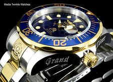 Invicta 47mm Grand Diver AUTOMATIC Blue Dial Gold Tone Silver Bracelet Watch