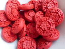 5 x sculpté faux cinabre laque fleur coin perles rouge 21mm, résine perles