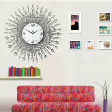 Crystal Jeweled Beaded Sunburst Wall Clock Silver Wire Room Decor DIY Gift Clock