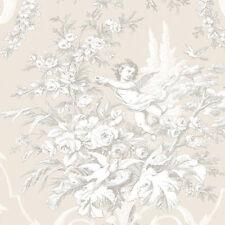 Floral & Cherub Victorian Tan Wallpaper CH22540  FREE shipping