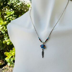 Sterling SIlver Bead Vintage Silver Colorful Bear Feather Southwest Necklace