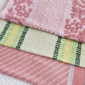 Vintage Retro 3 pink green Hand Towel Towels set 60s 70s 80s vw camper