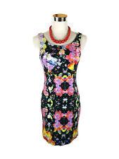 LADAKH Dress- Vintage Style Floral Denim Pencil Bodycon Black Pink Stretch - 8/S