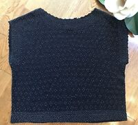 Vintage DKNY Jeans Beaded Cap Sleeve Black Sweater Size Small Wool Blend