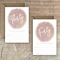 BIRTHDAY INVITATIONS BLANK ROSE GOLD GLITTER PRINT EFFECT 30TH, 40th PACKS OF 10