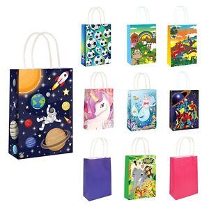 Paper Party Bags - Unicorn Mermaid Jungle Superhero Space Football Farm Animals
