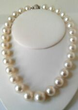 HUGE-18-14 MM-NATURAL-SOUTH-SEA-GENUINE-WHITE-ROUND-PEARL-NECKLACE-PLATINUM