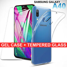 For Samsung Galaxy A40 Clear Gel Case Tempered Glass Screen Protector TPU Cover