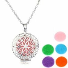 Fashion Aromatherapy Essential Oil Diffuser Pendant Locket Necklace + 5 Pcs Pads