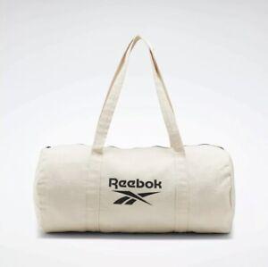 NEW Reebok Nat Cttn Canvas Zippered Duffl Training Gym Active Workout Bag