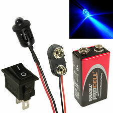 Flashing Blue Car Dummy Fake Alarm LED + PP3 Connector + Switch + Battery