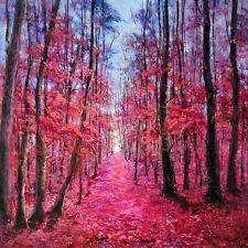 Wandbild Gemälde handgemalt Laubbäume rot 100x100 cm