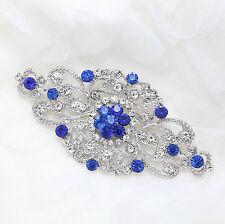 Royal Blue Rhinestone Crystal Brooch Pin Wedding Bridal Dress Gown Silver Tone