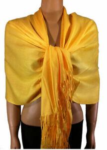 Echarpe étole scarf 100 % pashmina cachemire mélangé top qualité jaune soleil