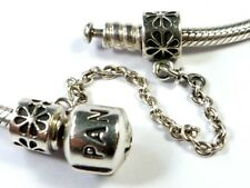 AUTHENTIC PANDORA 925 ALE SILVER FLOWER SAFETY CHAIN CHARM BEAD 790385
