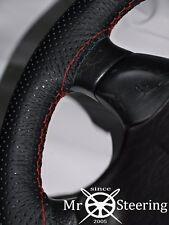 FOR MAZDA BRAVO 98-06 PERFORATED LEATHER STEERING WHEEL COVER RED DOUBLE STITCH