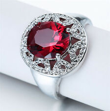 Fashion Women Jewelry Huge Red Ruby Gemstone 925 Silver Wedding Engagement Ring