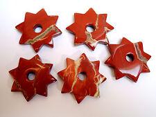 Jaspis rot  *Willenskraft* 1 Stück STERN 32 mm SCHMUCKSTEIN ANHÄGER ZWISCHENTEIL