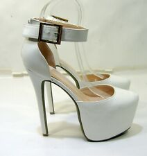 "WHITE  6.5""Stiletto High Heel 2.5""Platform Strap Sexy Shoes  US WOMEN Size  10"