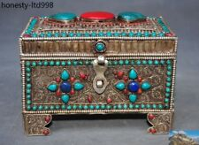 Old Tibet Buddhism silver Filigree Inlay turquoise Red Coral jewelry Storage Box
