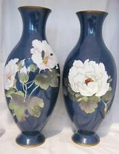 """Chinese Cloissone Vases on Blue Ground with Peonies & Butterflies 12"""" AF"""